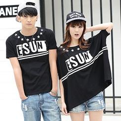 Igsoo - 情侶印花短袖T恤