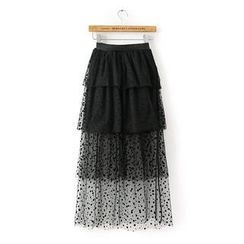 JVL - Dotted Mesh Layered Maxi Skirt