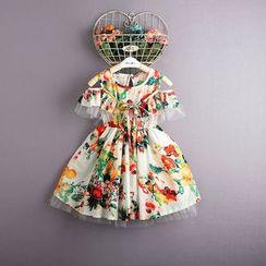 Kidora - 小童碎花镂空肩连衣裙