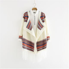 Storyland - Patterned Panel Fringed Cardigan