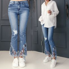 DANI LOVE - Fringe-Hem Boot-Cut Jeans