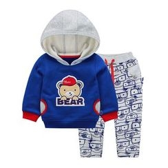Ansel's - 童裝套裝: 卡通連帽衫 + 褲