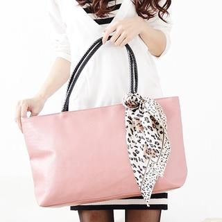 Miss Sweety - Leopard-Print Scarf-Accent Tote