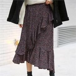 PEPER - Band-Waist Ruffle-Detail Skirt