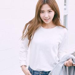 chuu - Round-Neck Colored Cotton T-Shirt