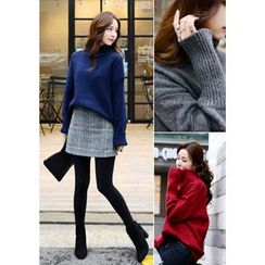 DEEPNY - Turtle-Neck Ribbed Wool Blend Sweater