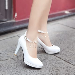 Pretty in Boots - Chain Strapped Pumps