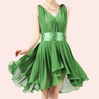 Romantica - Sleeveless Belted Shirred Dress
