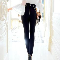 Tang House - Lace Up Back-zip Skinny Pants