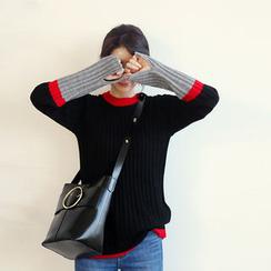 NANING9 - Color-Block Rib-Knit Sweater
