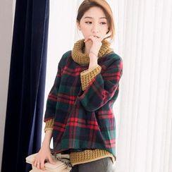 Tokyo Fashion - Knit Panel Plaid Blouse