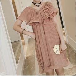 Octavia - V-Neck Short Sleeve Pleated Chiffon Mini Dress