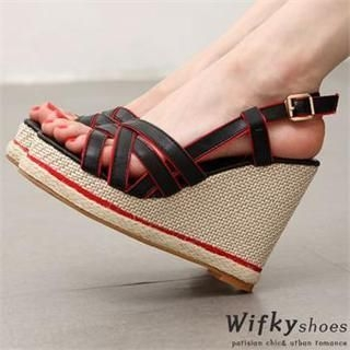 Wifky - Piped Wedge Sandals