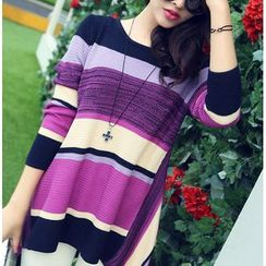 anzoveve - Color-Block A-Line Long Knit Top