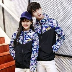 Azure - Couple Matching Floral Windbreaker