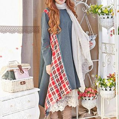 Blue Hat - Long-Sleeve Check-Panel Dress