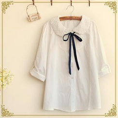 Fairyland - Long-Sleeved Lace Collar Blouse