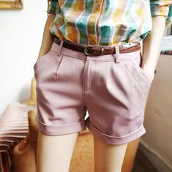 Tokyo Fashion - Cuffed Shorts with Belt
