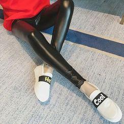 NEUF - 孕婦仿皮內搭褲
