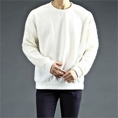 THE COVER - Knit-Sleeve Round-Neck T-Shirt