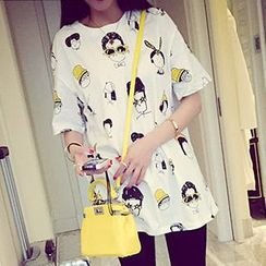 QZ Lady - Short-Sleeve Cartoon Print T-Shirt