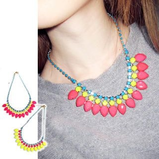 Clair Fashion - Neon Jeweled Necklace