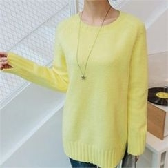JOAMOM - Round-Neck Slit-Sleeve Knit Top