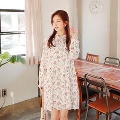 Cherryville - Tie-Neck Floral Pattern Chiffon Dress