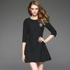 Ozipan - Elbow-Sleeve Applique Dotted Dress