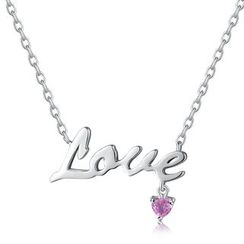 MBLife.com - 925 Sterling Silver Love with Pink Sapphire 'Love' Word Message Necklace (16')