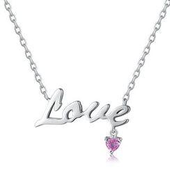 MBLife.com - 925純銀 'Love' 英文字粉紅藍寶石項鍊 (16吋)