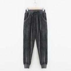 Meimei - Plain Velvet Drawstring Jogger Pants