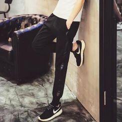 MRCYC - Faux-Leather Panel Sweatpants