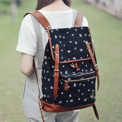 SUPER LOVER - Contrast-Trim Print Canvas Backpack