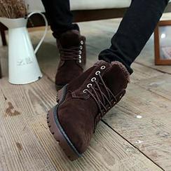 Solejoy - Fleece-Trim Lace-Up Ankle Boots