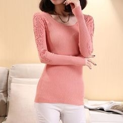 Cotton Candy - Lace Panel Knit Top