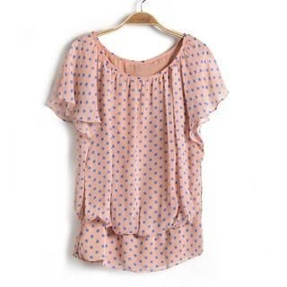 9mg - Dotted Ruffle Chiffon Top