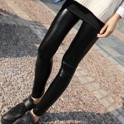 JVL - Fleece-Lined Faux Leather Leggings