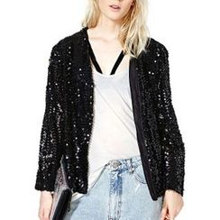 Richcoco - Sequined Zip Jacket