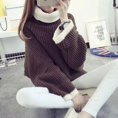 芙苪FR - 配色邊樽領粗織毛衣