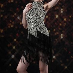 AIXI - Sequined Fringed Sleeveless Dance Dress