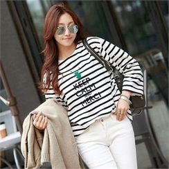 PEPER - Lettering Striped T-Shirt