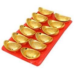 YINOPRINT - Set of 2: Chinese Gold Ingot Ornament