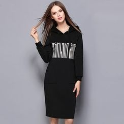Cherry Dress - Lettering Hooded Pullover Dress