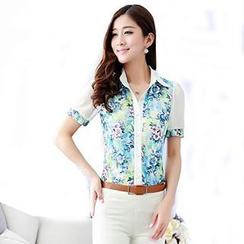 Hanee - Puff-Sleeve Floral Chiffon Shirt
