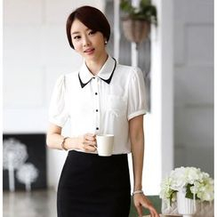 Loverac - Short-Sleeve Chiffon Shirt