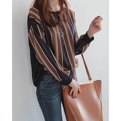 NIPONJJUYA - Stripe-Front Dip-Back Pullover