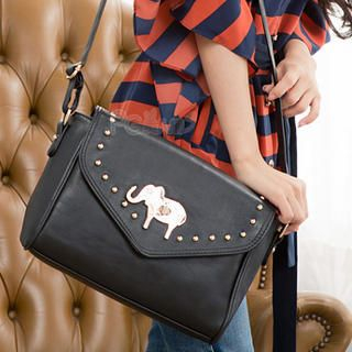 PG Beauty - Metal-Elephant Studded Shoulder Bag