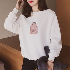 Cocofield - Applique Fleece-lined Sweatshirt