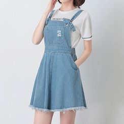 Nimill - Fray Hem Denim Pinafore Dress